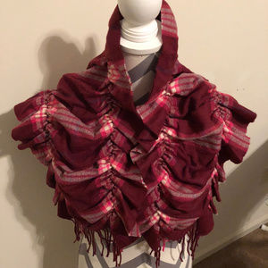 Plaid Pattern With Two Rows of Elastic Scarf